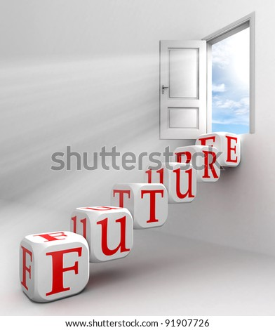 future red word conceptual door with sky and box ladder in white room metaphor