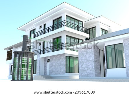 Future residential house with huge outer battery energy source in 3D design