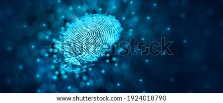 Future security technology. Fingerprint scan provides security access in DOF. Fingerprint Security Concept. 3D Render. Stock photo ©