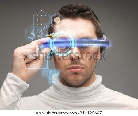 future, technology and people concept - man in futuristic glasses #211125667