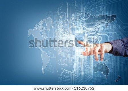 future technology and touch button inerface illustration