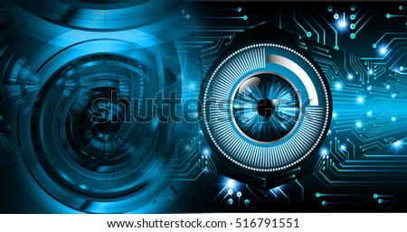 future technology, blue eye cyber security concept background, abstract hi speed digital internet.motion move speed blur. pixel eyeball