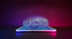Future technology cyberpunk neon color concept. Mobile phone with city pop hologram digital technology.