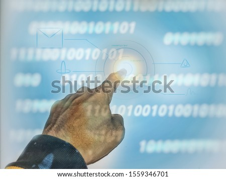 future technology.  human hand touches the background on a holographic image.  Touch button inerface illustration on blue background