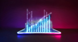 Future technology with business financial cyberpunk neon color concept. Mobile phone with city pop hologram technology and digital economy graph grow for world trend.