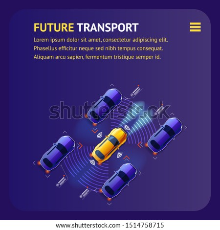 Future Transport Advertising Banner. Top View of Artificial Intelligent Cars Traffic Illustration. Modern Automated Sensors in Smart System. Unmanned Sity Street Transport. Sequrity Highway Trafiic.