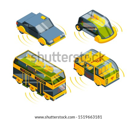 Future unmanned vehicle. Autonomous transport cars buses trucks and trains self control automotive robots system isometric