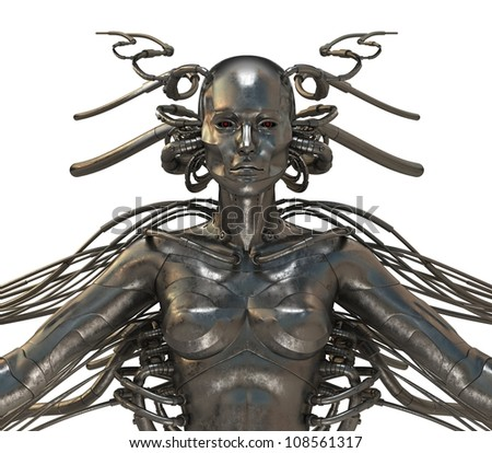 Future wired man cyborg / Cool wired human cyborg, 3d torso