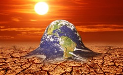future world changes in global warming. A world that is melting on dry land due to global warming. global warming concept and change