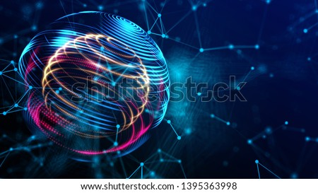Future world cyber technology in digital space 3D rendering background, colorful global with power energy path fot internet and technology concept.