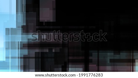 Futuristic abstract geometric wallpaper. Geometrical colorful shapes. Rectangular shapes background. Digital illustration of a tech layout.