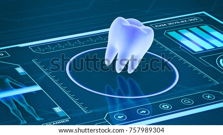 futuristic app interface for medical and scientific purpose - tooth scanner (3d render)