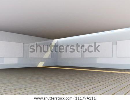 Futuristic Architecture, abstract gallery interior