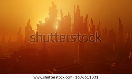 Futuristic architecture rendering. Science fiction cityscape in sunset colors. 3D rendering Сток-фото ©