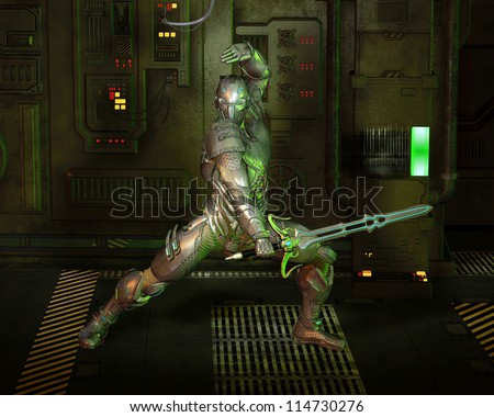Futuristic armoured warrior knight with power sword in a dark corridor, 3d digitally rendered illustration