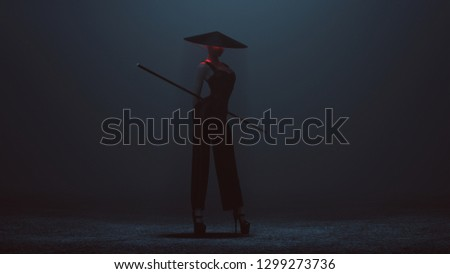 Futuristic Asian Demon Assassin in a Corset and Pant Suit with a Staff and Conical Hat 3d illustration 3d render