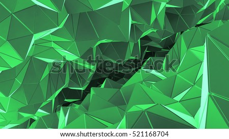 Futuristic background with lines and abstract low-poly, polygonal triangular mosaic background for web, presentations and prints. Grunge surface. 3d Rendering. Realistic 3D design template. #521168704
