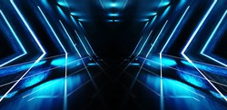 Futuristic background with neon shapes of a triangle, reflection, smoke. Empty tunnel with neon light.