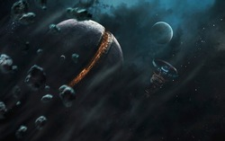 Futuristic base inside the planet. Sci-fi wallpaper. This image elements furnished by NASA