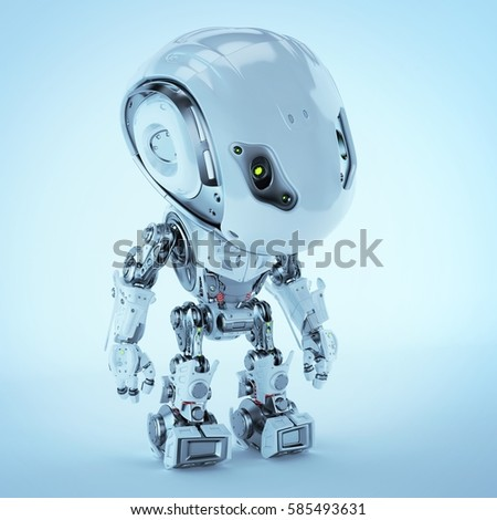 Futuristic Bbot robot looking down 3d rendering  #585493631