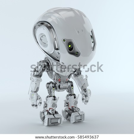 Futuristic Bbot robot looking down 3d rendering  #585493637