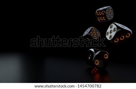 Futuristic Black Dices With Glowing Orange Neon Lights - 3D Illustration Photo stock ©