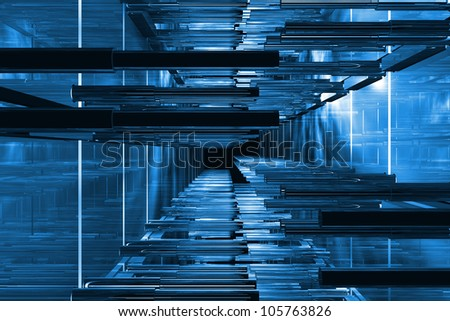 Futuristic blue technical space available for background