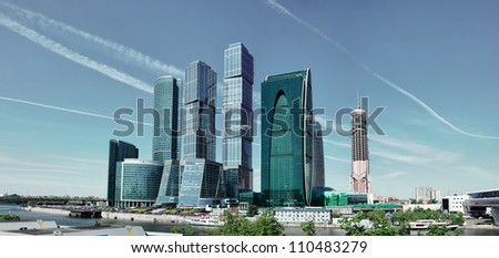 Futuristic buildings in Moscow City. Front view to high modern skyscrapers.