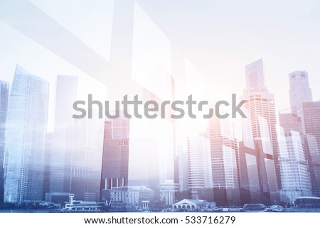 futuristic business background, double exposure of office window and city skyline #533716279