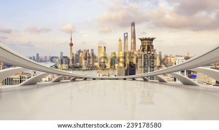 futuristic business perspective and cityscape during daytime #239178580
