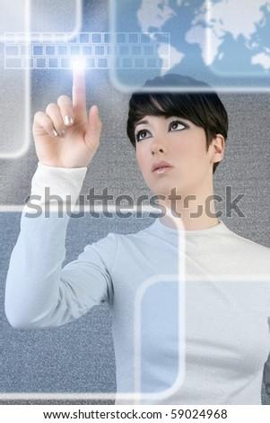 futuristic businesswoman finger touch pad keyboard digital light screen world map [Photo Illustration]