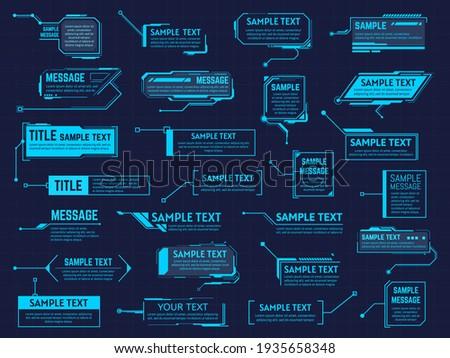 Futuristic callouts titles. Info boxes, digital information bar labels, modern description banner. Callout bar titles  illustration set