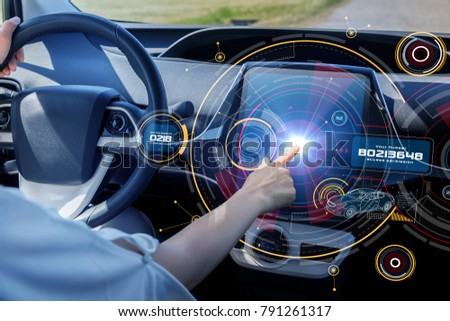 Futuristic car cockpit and touch screen. Autonomous car. Driverless vehicle. HUD(Head up display). GUI(Graphical User Interface). IoT(Internet of Things). #791261317