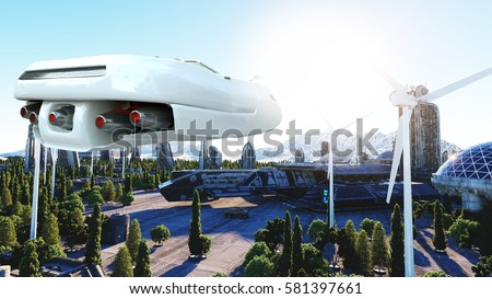 Stock Photo futuristic car flying over the city, town. Transport of the future. Aerial view. 3d rendering.