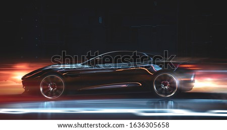 Futuristic car in motion, with motion blur, side view - 3d illustration, render