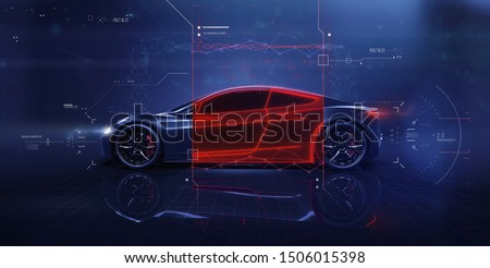 Futuristic car technology concept scene with user interface showing cross section and vehicle features (3d Illustration)