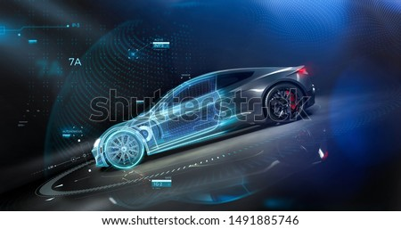Futuristic car technology concept with wireframe intersection (3D illustration) Сток-фото ©