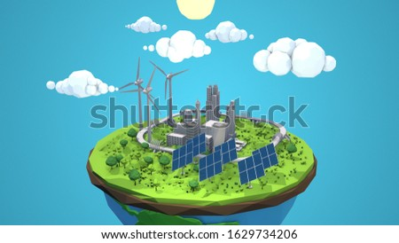 Futuristic cartoon city rendered in 3D with bright blue sky and clouds. Showing solar panels, wind turbines, and other green electric energy.  stock photo