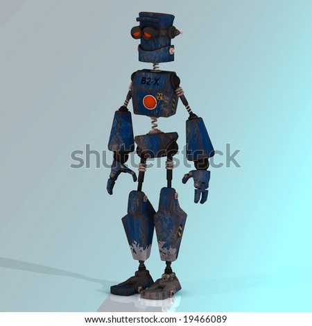 Futuristic cartoon roboter making funny moves Image contains a Clipping Path