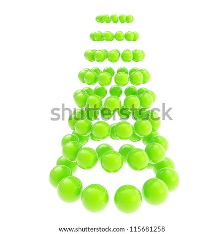 Futuristic christmas tree made of glossy spheres composition isolated on white background