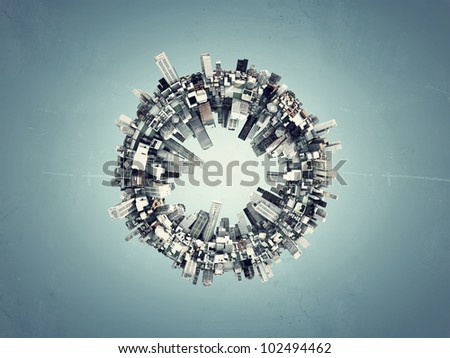 futuristic city around a ring isolated on blue background