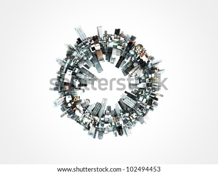 futuristic city around a ring isolated on white background