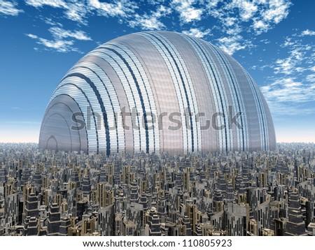 Futuristic City Computer generated 3D illustration