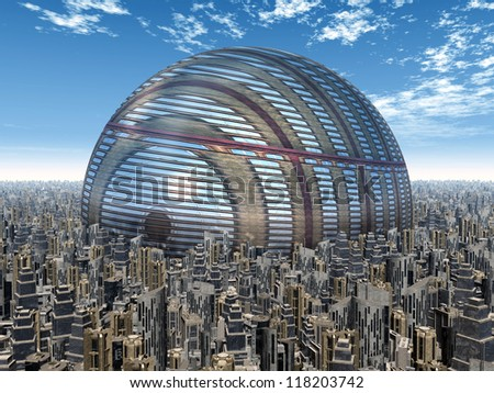 Futuristic City Computer generated 3D illustration
