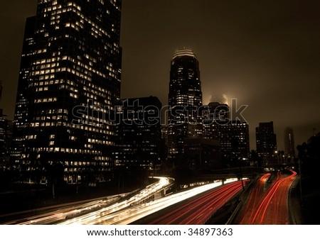 Futuristic City Freeway Traffic, Night Skyline