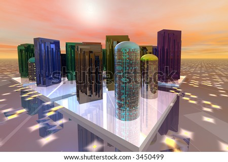Futuristic city in orange light