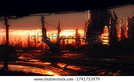 Futuristic city. Science fiction imaginary, digital art. 2d illustration Photo stock ©
