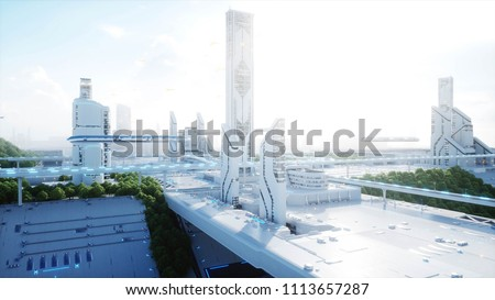Stock Photo Futuristic city, town. The concept of the future. Aerial view. 3d rendering.
