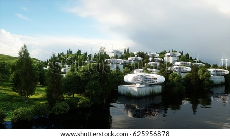 Stock Photo futuristic city, village. The concept of the future. Aerial view. 3d rendering.