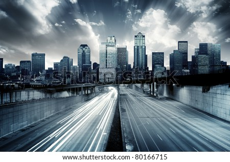 Futuristic Cityscape with blue tint